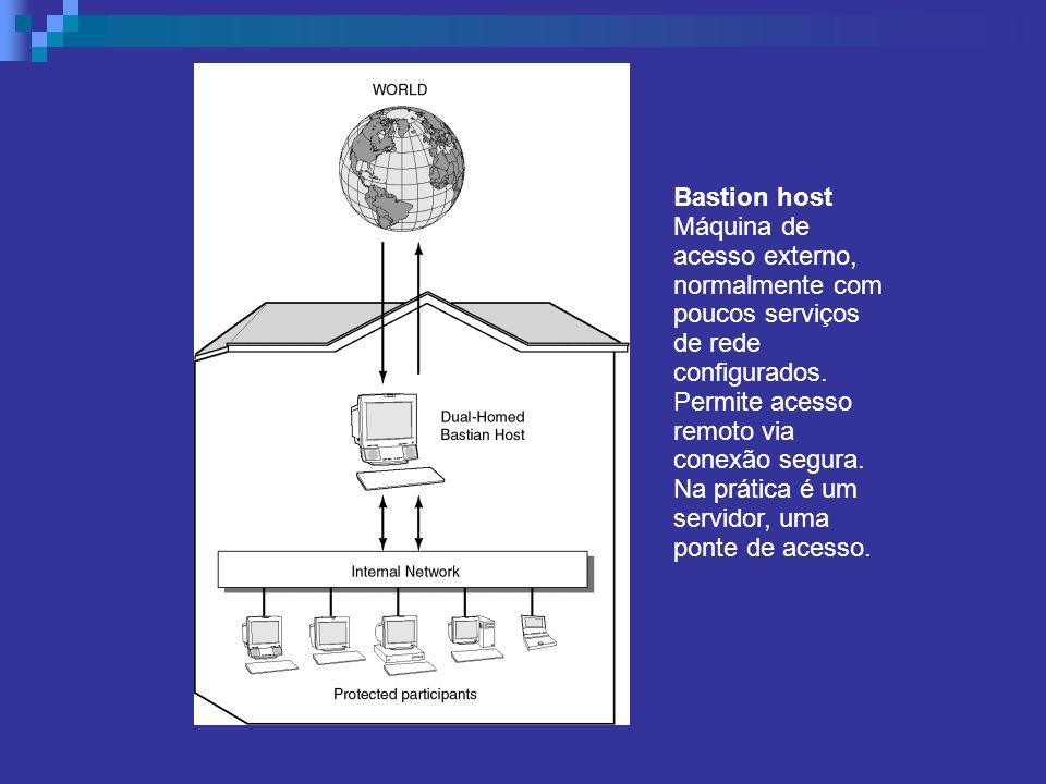 Bastion host Máquina de acesso externo, normalmente com poucos serviços de rede configurados. Permite acesso remoto via conexão segura. Na prática é u