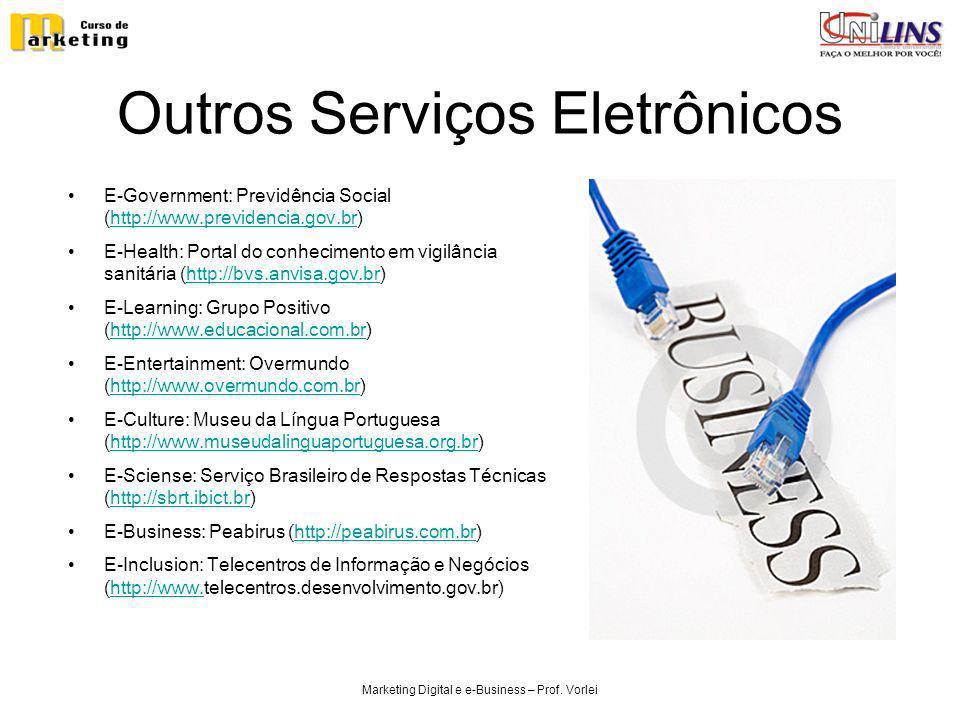 Marketing Digital e e-Business – Prof. Vorlei Outros Serviços Eletrônicos E-Government: Previdência Social (http://www.previdencia.gov.br)http://www.p