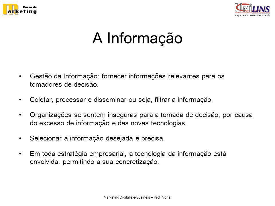 Marketing Digital e e-Business – Prof. Vorlei A Informação Gestão da Informação: fornecer informações relevantes para os tomadores de decisão. Coletar