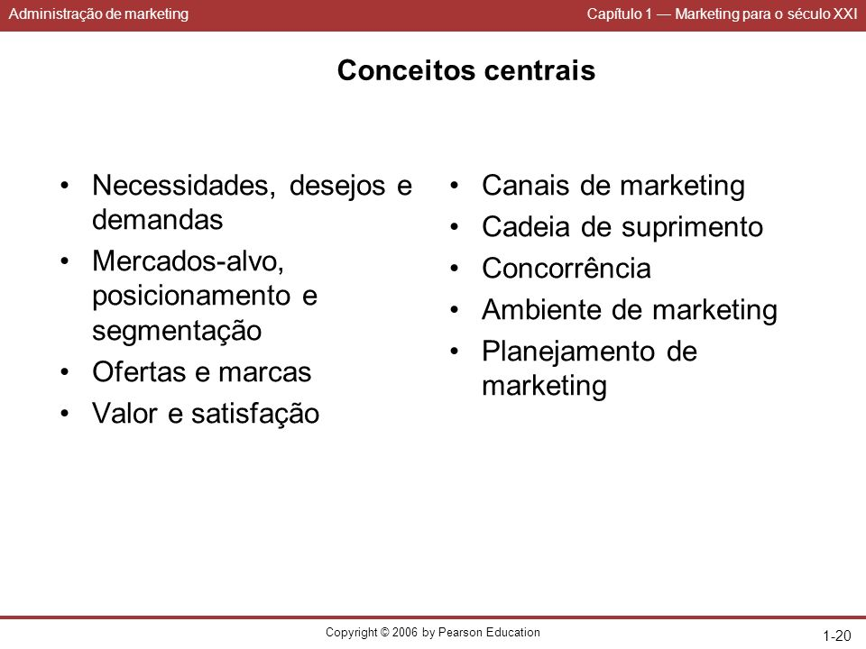 Administração de marketingCapítulo 1 Marketing para o século XXI Copyright © 2006 by Pearson Education 1-20 Conceitos centrais Necessidades, desejos e