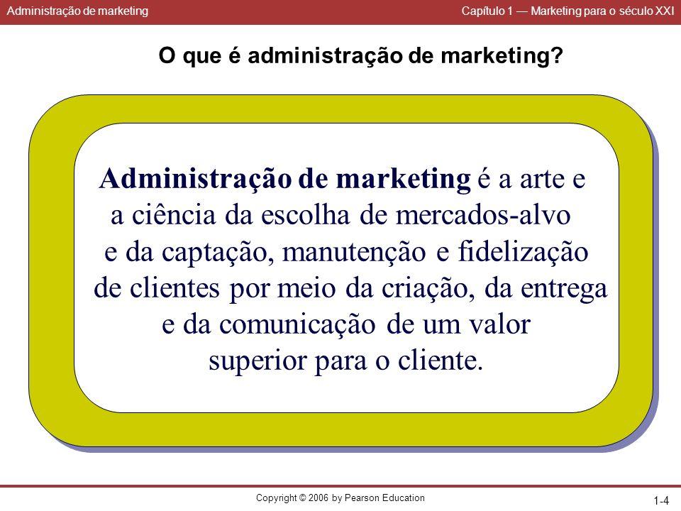 Administração de marketingCapítulo 1 Marketing para o século XXI Copyright © 2006 by Pearson Education 1-15 Orientações da empresa para o mercado Produção VendasMarketing Produto