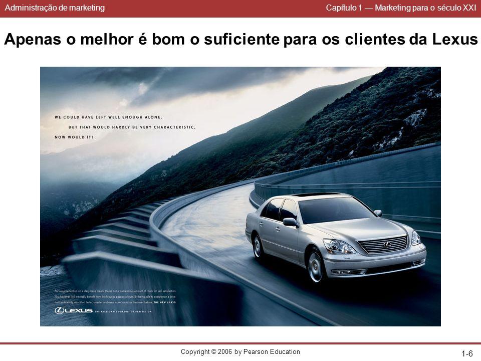 Administração de marketingCapítulo 1 Marketing para o século XXI Copyright © 2006 by Pearson Education 1-17 Figura 1.4 Os 4Ps do mix de marketing