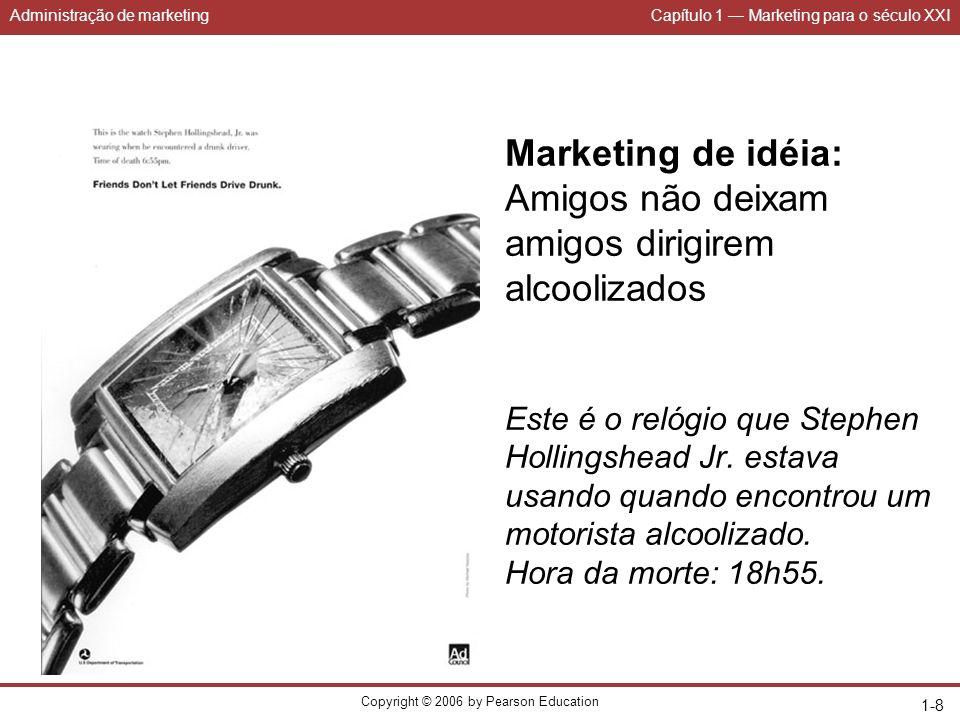 Administração de marketingCapítulo 1 Marketing para o século XXI Copyright © 2006 by Pearson Education 1-9 Estados de demanda Inexistente Latente Em declínio Irregular PlenaIndesejadaExcessiva Negativa