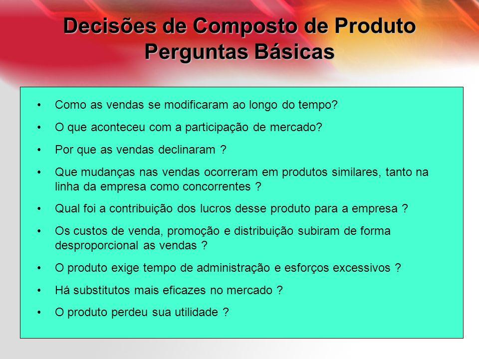 Decisões de Composto de Produto Perguntas Básicas Como as vendas se modificaram ao longo do tempo? O que aconteceu com a participação de mercado? Por