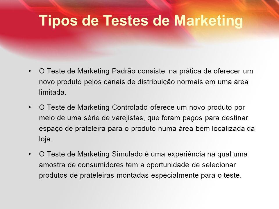 O Teste de Marketing Padrão consiste na prática de oferecer um novo produto pelos canais de distribuição normais em uma área limitada. O Teste de Mark