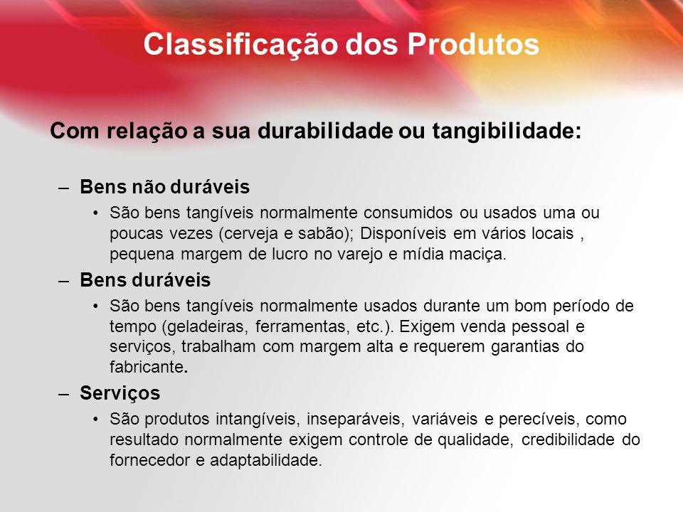 Classificação dos Produtos Com relação a sua durabilidade ou tangibilidade: –Bens não duráveis São bens tangíveis normalmente consumidos ou usados uma