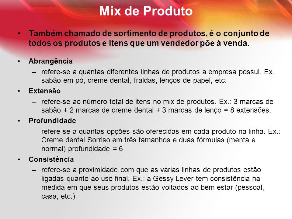 Mix de Produto Também chamado de sortimento de produtos, é o conjunto de todos os produtos e itens que um vendedor põe à venda. Abrangência –refere-se