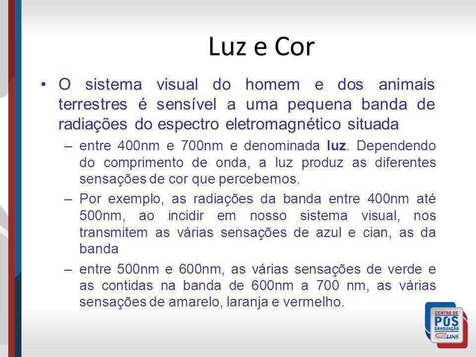 Luz e Cor O sistema visual do homem e dos animais terrestres é sensível a uma pequena banda de radiações do espectro eletromagnético situada –entre 40