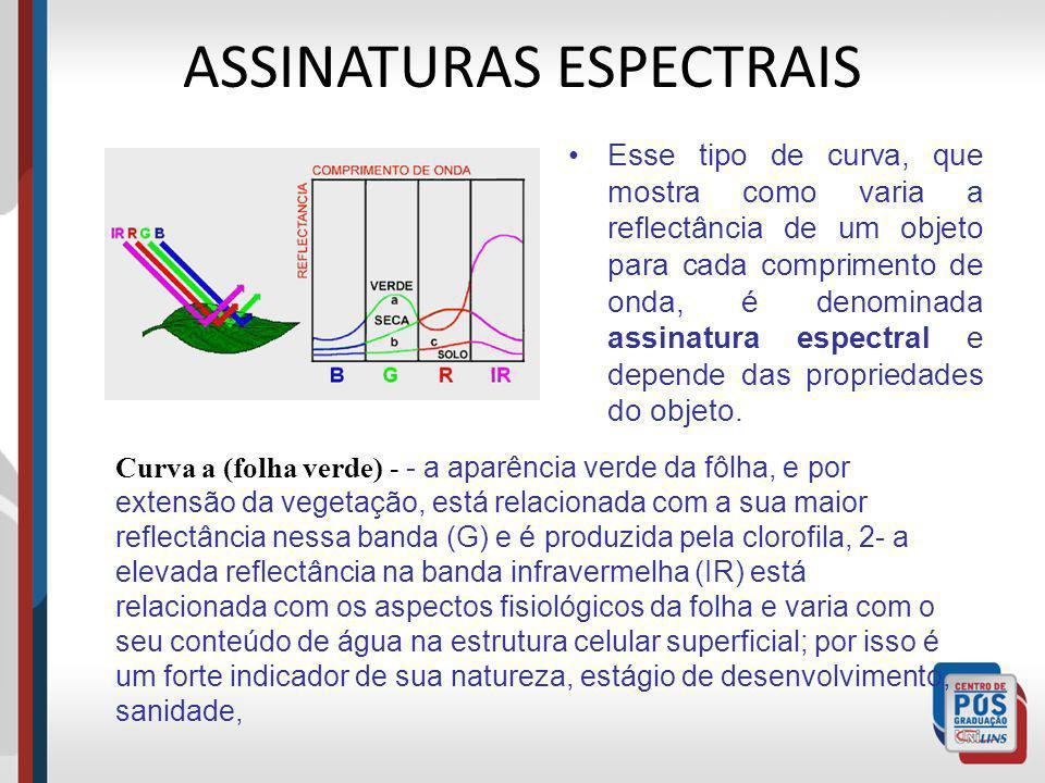 ASSINATURAS ESPECTRAIS Esse tipo de curva, que mostra como varia a reflectância de um objeto para cada comprimento de onda, é denominada assinatura es