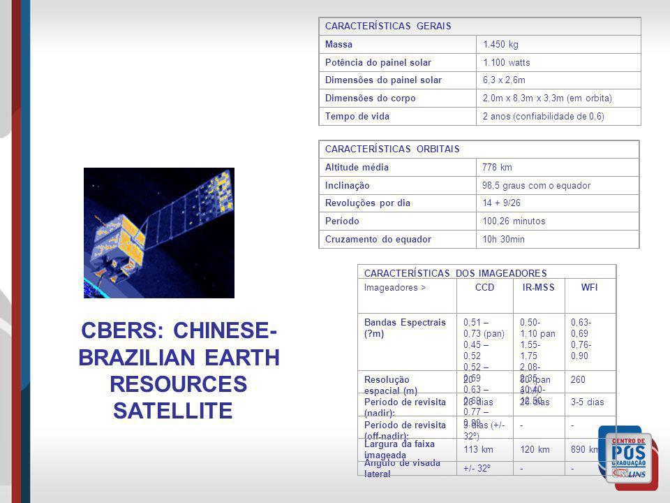 CBERS: CHINESE- BRAZILIAN EARTH RESOURCES SATELLITE CARACTERÍSTICAS GERAIS Massa1.450 kg Potência do painel solar1.100 watts Dimensões do painel solar