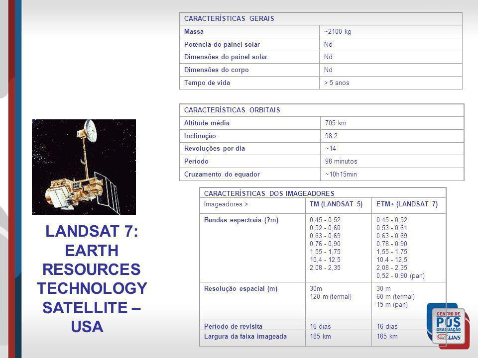 LANDSAT 7: EARTH RESOURCES TECHNOLOGY SATELLITE – USA CARACTERÍSTICAS GERAIS Massa~2100 kg Potência do painel solarNd Dimensões do painel solarNd Dime