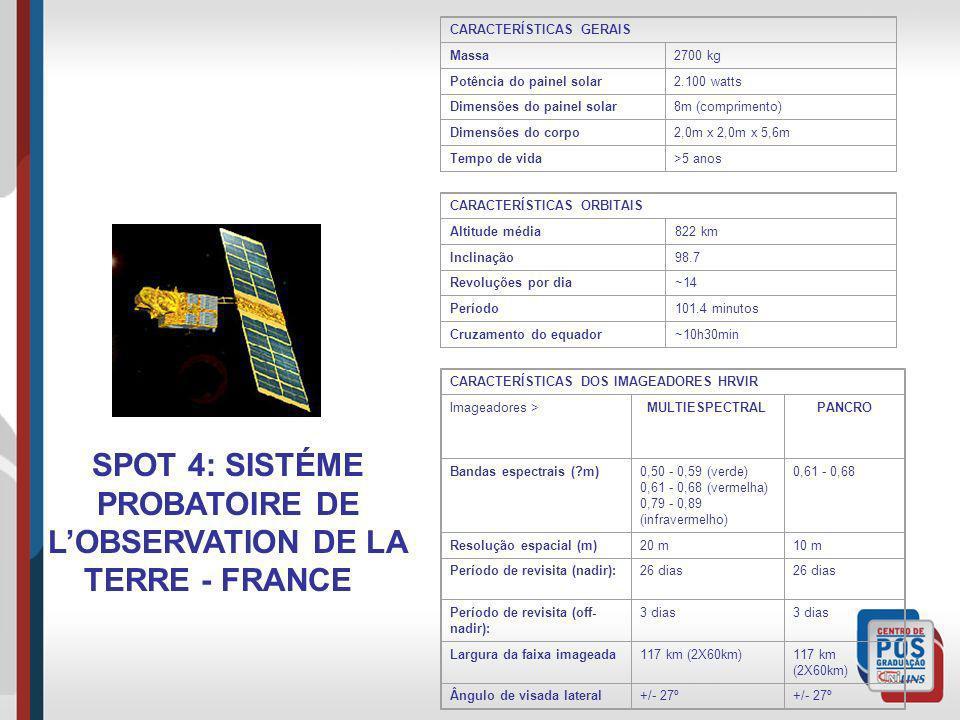SPOT 4: SISTÉME PROBATOIRE DE LOBSERVATION DE LA TERRE - FRANCE CARACTERÍSTICAS GERAIS Massa2700 kg Potência do painel solar2.100 watts Dimensões do p