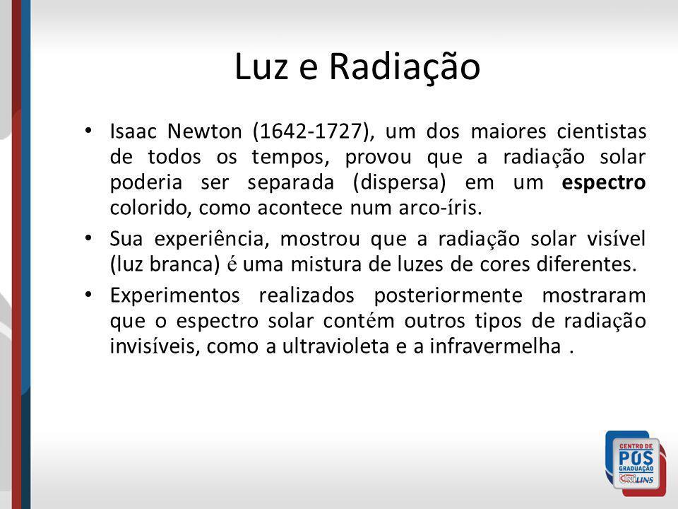 Luz e Radiação Isaac Newton (1642-1727), um dos maiores cientistas de todos os tempos, provou que a radia ç ão solar poderia ser separada (dispersa) e