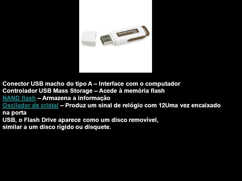 Conector USB macho do tipo A – Interface com o computador Controlador USB Mass Storage – Acede à memória flash NAND flashNAND flash – Armazena a infor