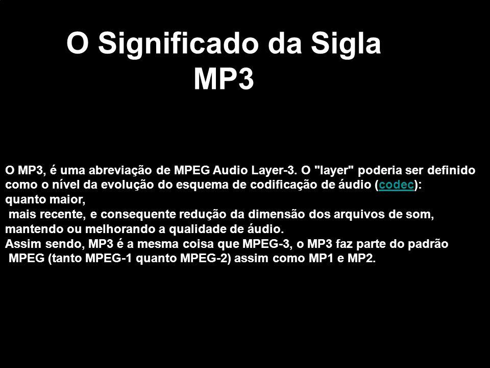 O MP3, é uma abreviação de MPEG Audio Layer-3. O