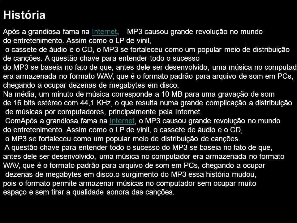 As taxas de compressão alcançadas pelo MP3 chegam a até 12 vezes, dependendo da qualidade desejada.