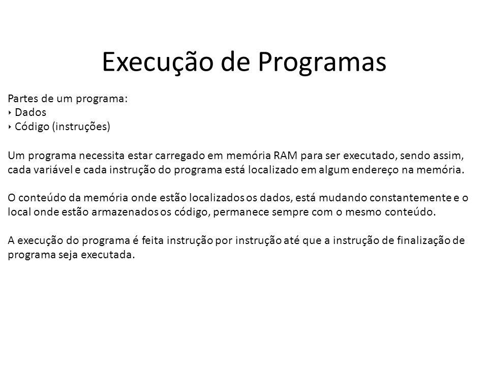 Execução de Programas Partes de um programa: Dados Código (instruções) Um programa necessita estar carregado em memória RAM para ser executado, sendo