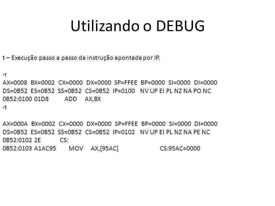 Utilizando o DEBUG t – Execução passo a passo da instrução apontada por IP. -r AX=0008 BX=0002 CX=0000 DX=0000 SP=FFEE BP=0000 SI=0000 DI=0000 DS=0B52