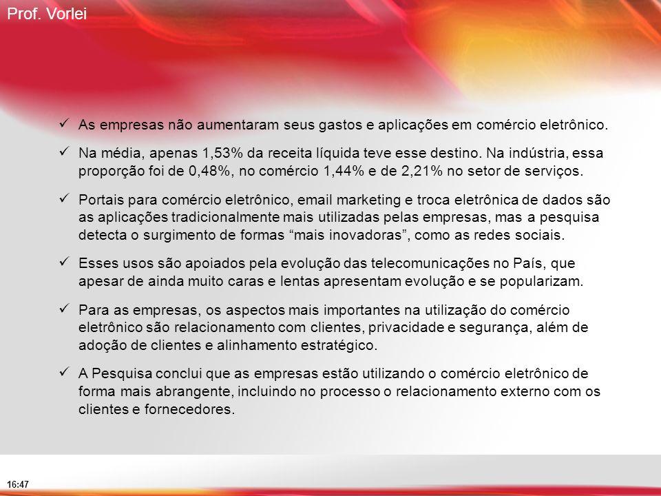 Prof. Vorlei 16:47 As empresas não aumentaram seus gastos e aplicações em comércio eletrônico. Na média, apenas 1,53% da receita líquida teve esse des