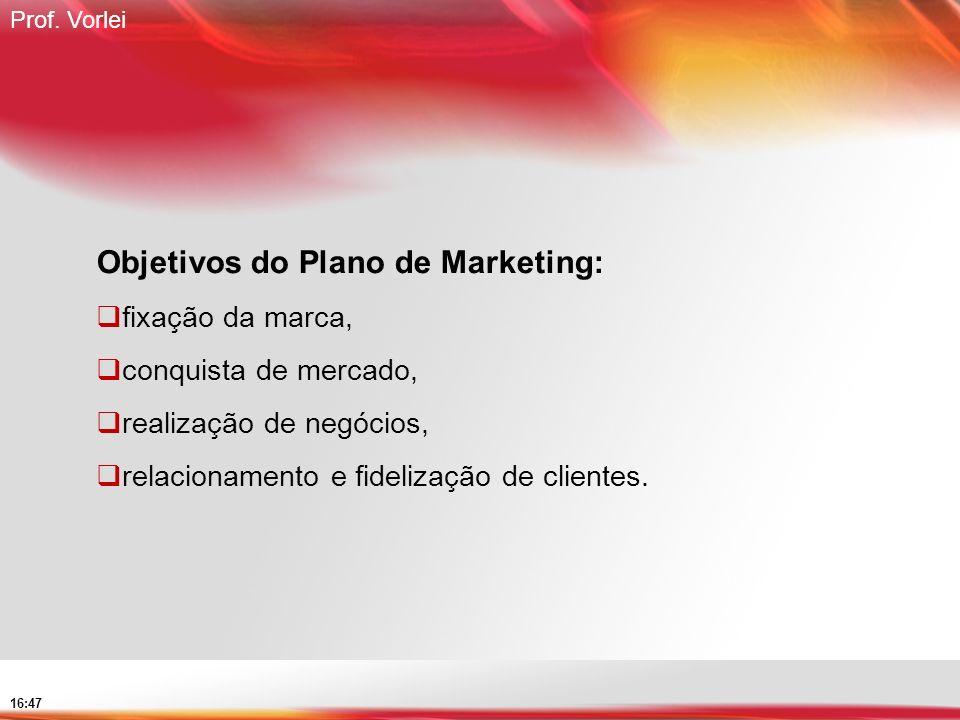 Prof. Vorlei 16:47 Objetivos do Plano de Marketing: fixação da marca, conquista de mercado, realização de negócios, relacionamento e fidelização de cl