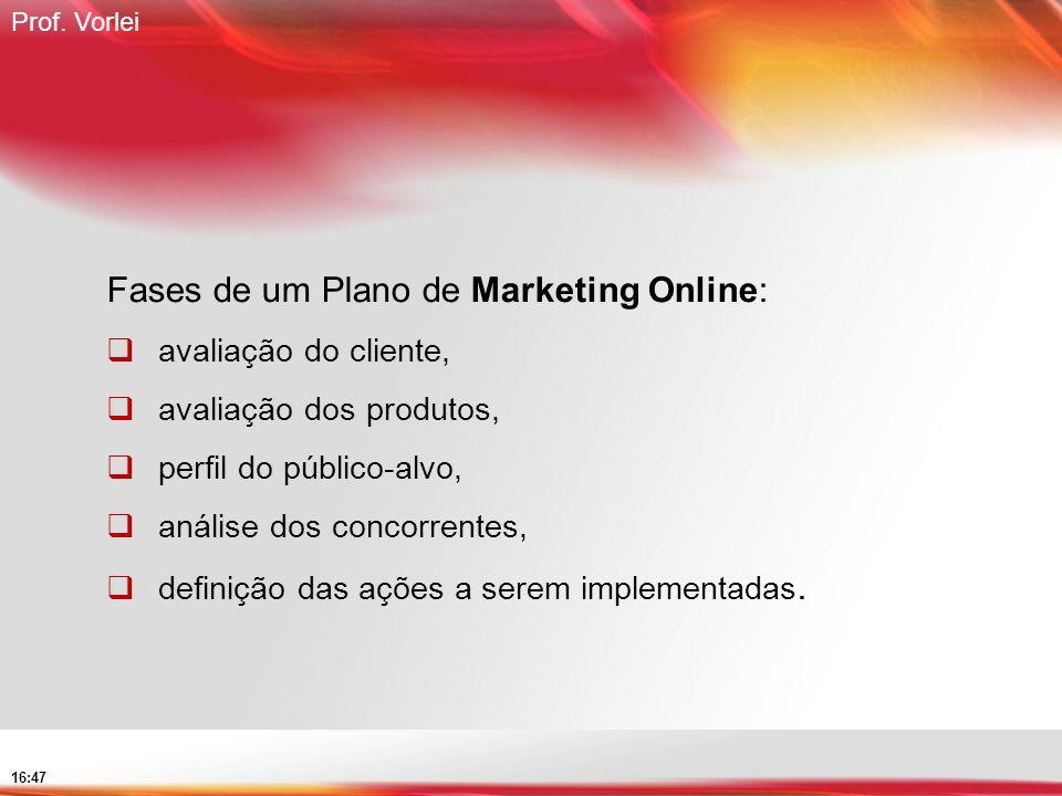 Prof. Vorlei 16:47 Fases de um Plano de Marketing Online: avaliação do cliente, avaliação dos produtos, perfil do público-alvo, análise dos concorrent