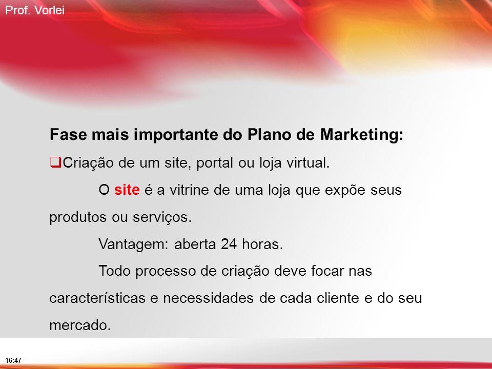 Prof. Vorlei 16:47 Fase mais importante do Plano de Marketing: Criação de um site, portal ou loja virtual. O site é a vitrine de uma loja que expõe se