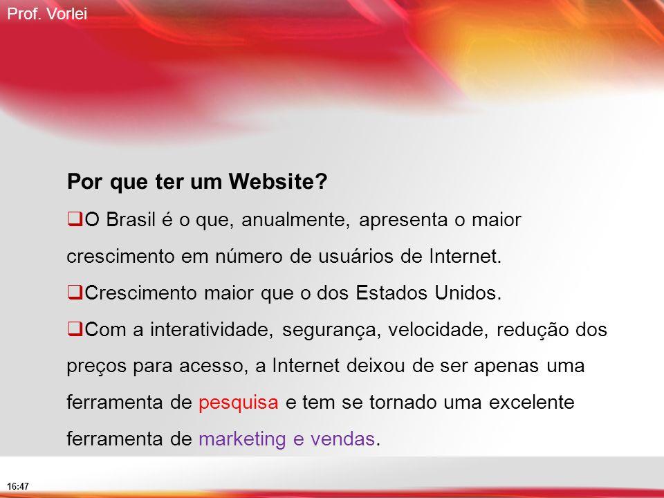 Prof. Vorlei 16:47 Por que ter um Website? O Brasil é o que, anualmente, apresenta o maior crescimento em número de usuários de Internet. Crescimento