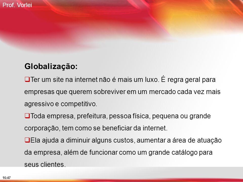 Prof. Vorlei 16:47 Globalização: Ter um site na internet não é mais um luxo. É regra geral para empresas que querem sobreviver em um mercado cada vez