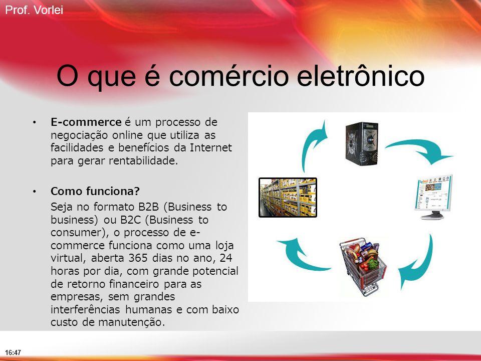 Prof. Vorlei 16:47 O que é comércio eletrônico E-commerce é um processo de negociação online que utiliza as facilidades e benefícios da Internet para