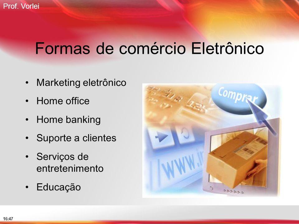 Prof. Vorlei 16:47 Formas de comércio Eletrônico Marketing eletrônico Home office Home banking Suporte a clientes Serviços de entretenimento Educação