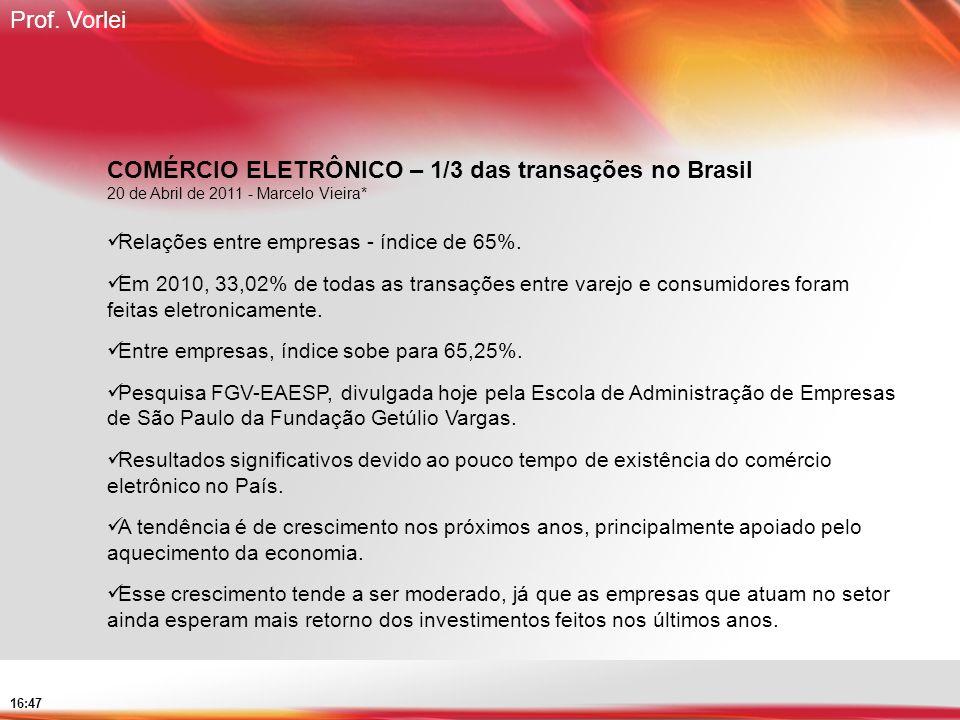 Prof. Vorlei 16:47 COMÉRCIO ELETRÔNICO – 1/3 das transações no Brasil 20 de Abril de 2011 - Marcelo Vieira* Relações entre empresas - índice de 65%. E