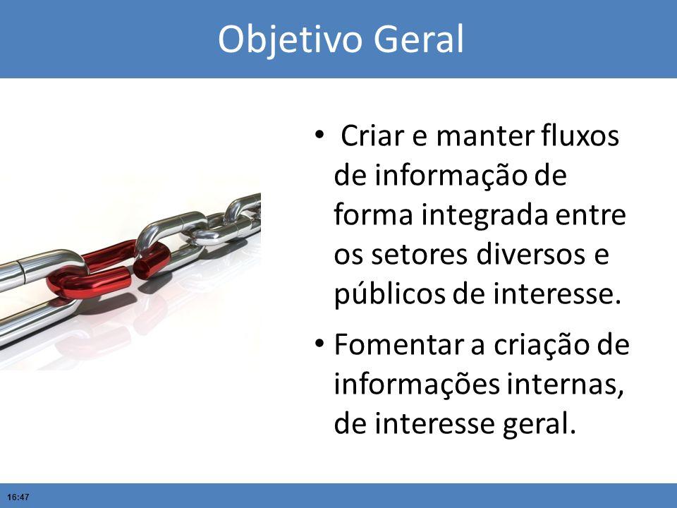 16:47 Criar e manter fluxos de informação de forma integrada entre os setores diversos e públicos de interesse. Fomentar a criação de informações inte