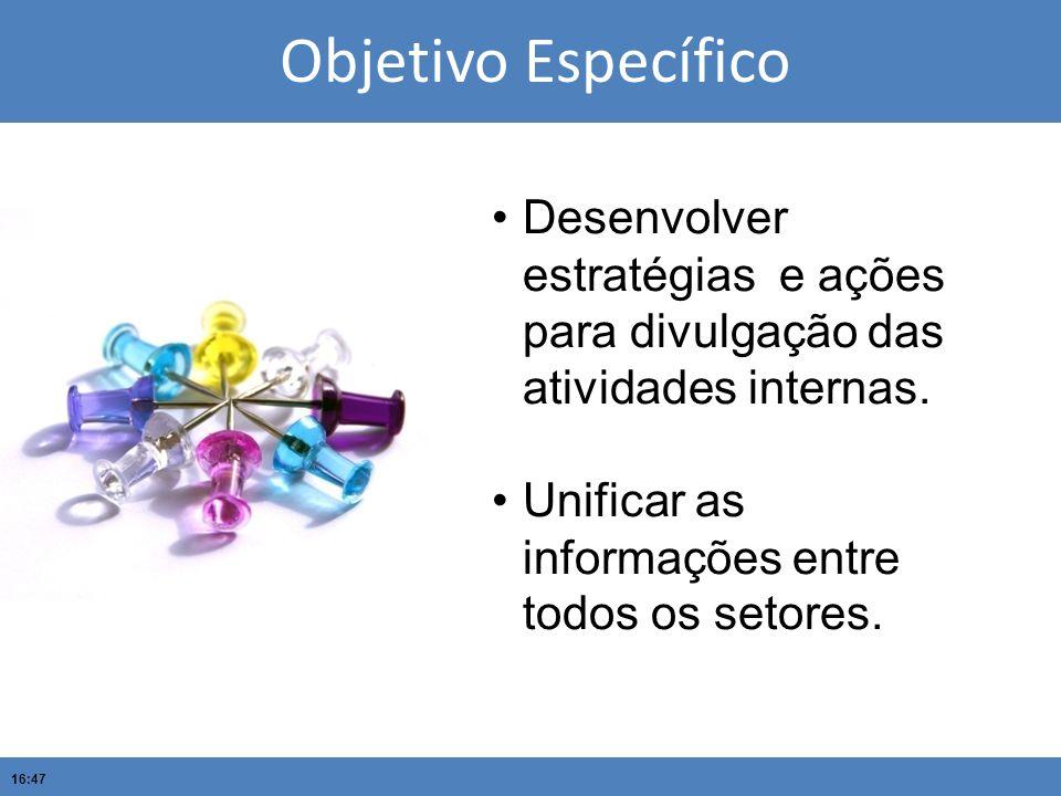16:47 Objetivo Específico Desenvolver estratégias e ações para divulgação das atividades internas. Unificar as informações entre todos os setores.