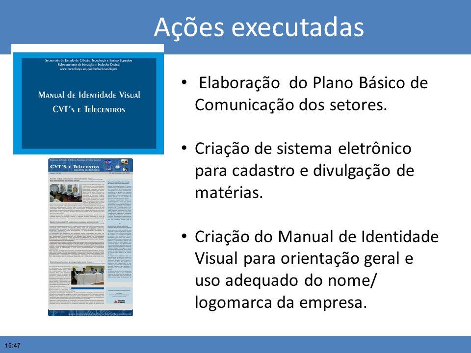 16:47 Ações executadas Elaboração do Plano Básico de Comunicação dos setores. Criação de sistema eletrônico para cadastro e divulgação de matérias. Cr