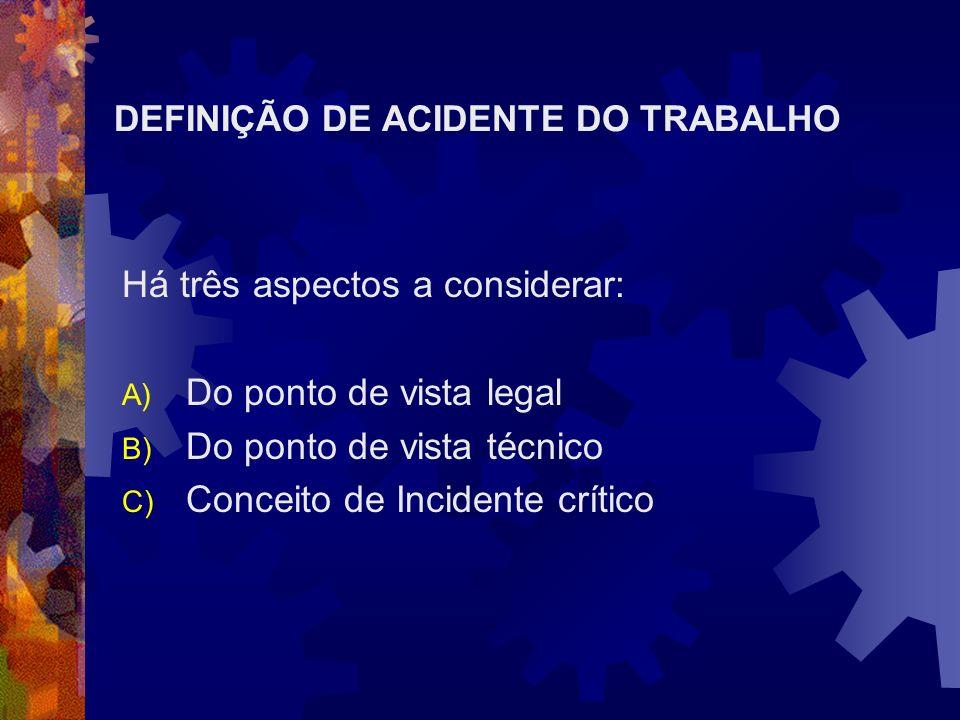 DEFINIÇÃO DE ACIDENTE DO TRABALHO Há três aspectos a considerar: A) Do ponto de vista legal B) Do ponto de vista técnico C) Conceito de Incidente crít