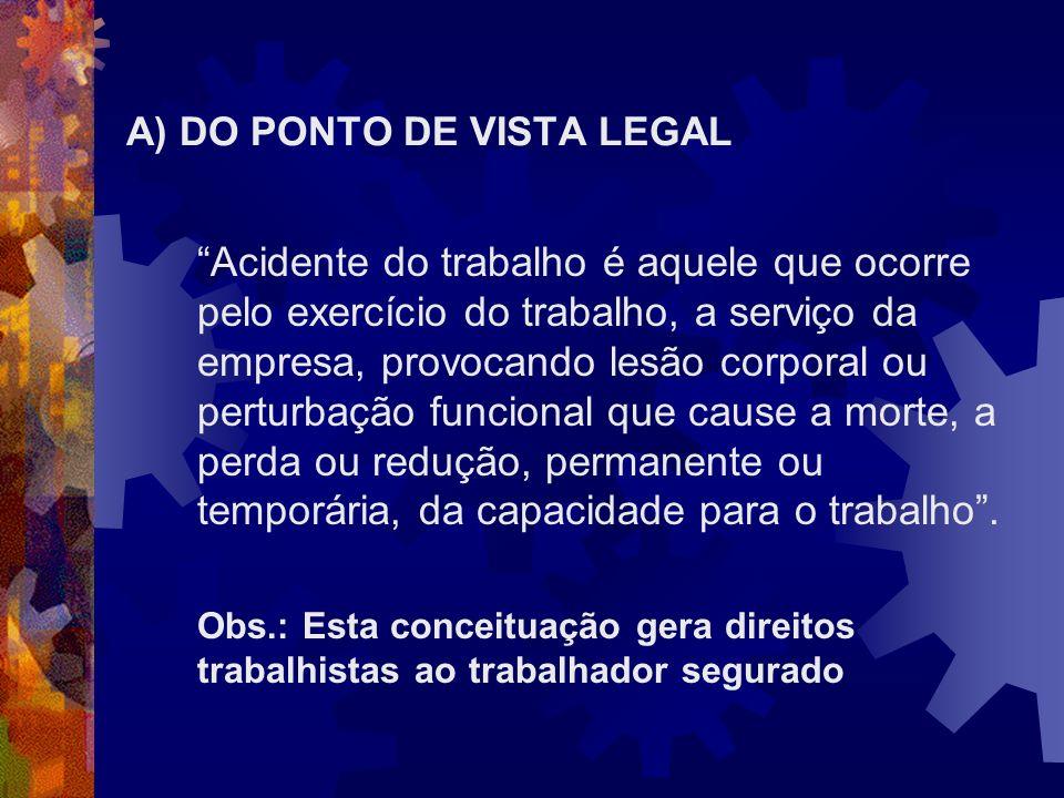 A) DO PONTO DE VISTA LEGAL Acidente do trabalho é aquele que ocorre pelo exercício do trabalho, a serviço da empresa, provocando lesão corporal ou per