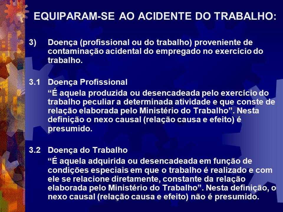 EQUIPARAM-SE AO ACIDENTE DO TRABALHO: 3)Doença (profissional ou do trabalho) proveniente de contaminação acidental do empregado no exercício do trabal