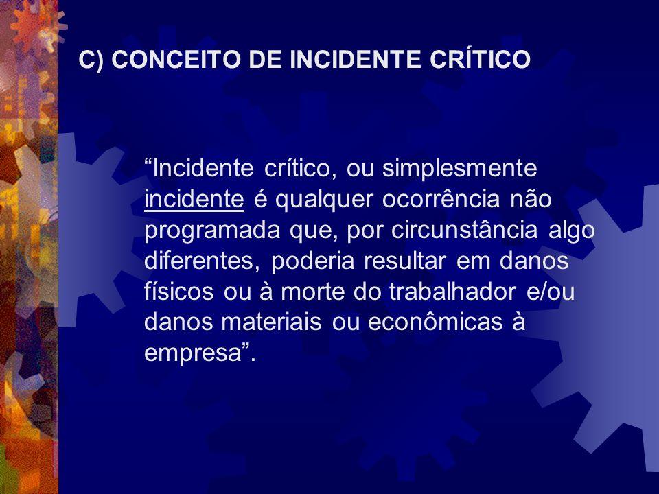 C) CONCEITO DE INCIDENTE CRÍTICO Incidente crítico, ou simplesmente incidente é qualquer ocorrência não programada que, por circunstância algo diferen