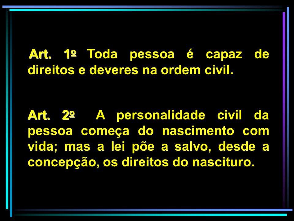 Art. 1o1o 1o1o Toda pessoa é capaz de direitos e deveres na ordem civil. Art. 2 o 2 o A personalidade civil da pessoa começa do nascimento com vida; m