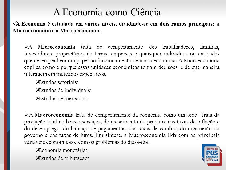 A Economia é uma Ciência social. - tem método próprio; - Tem um objeto de análise – pessoas e suas necessidades A Economia como Ciência