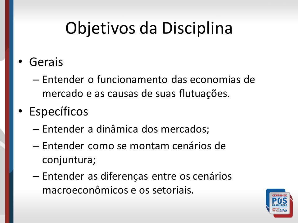 Objetivos da Disciplina Gerais – Entender o funcionamento das economias de mercado e as causas de suas flutuações.