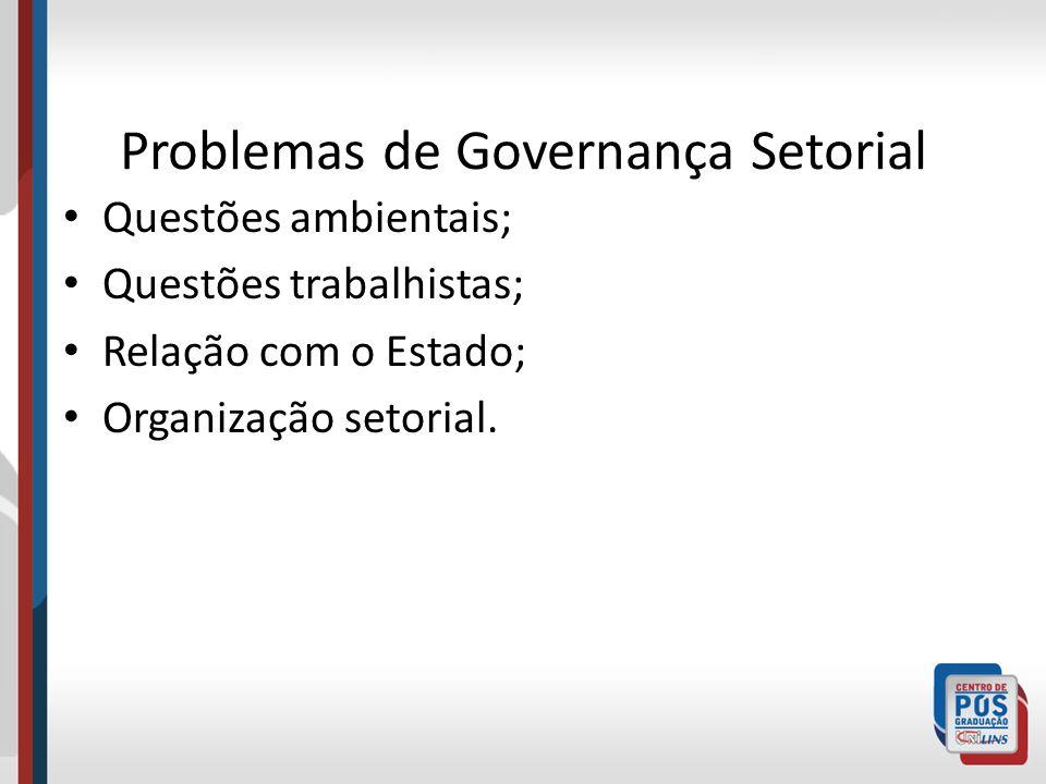 Problemas de Governança Setorial Questões ambientais; Questões trabalhistas; Relação com o Estado; Organização setorial.