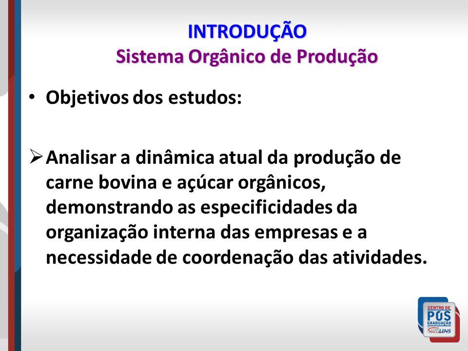 INTRODUÇÃO Sistema Orgânico de Produção Objetivos dos estudos: Analisar a dinâmica atual da produção de carne bovina e açúcar orgânicos, demonstrando