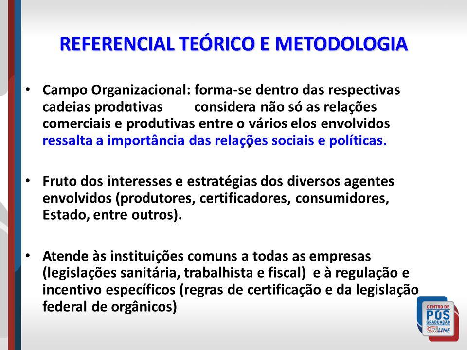 REFERENCIAL TEÓRICO E METODOLOGIA Campo Organizacional: forma-se dentro das respectivas cadeias produtivas considera não só as relações comerciais e p