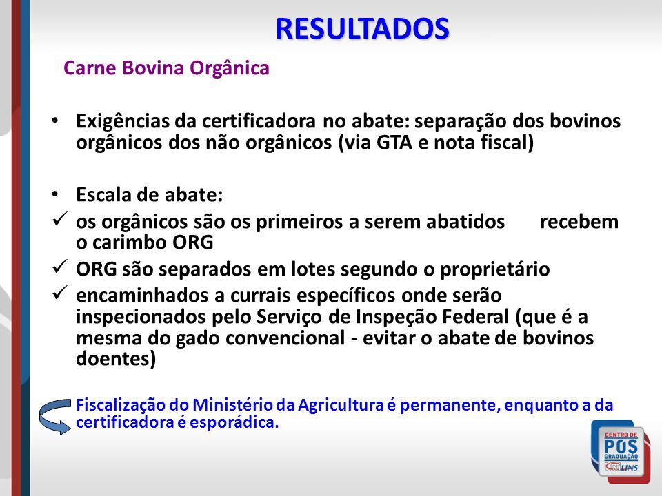 RESULTADOS Carne Bovina Orgânica Exigências da certificadora no abate: separação dos bovinos orgânicos dos não orgânicos (via GTA e nota fiscal) Escal