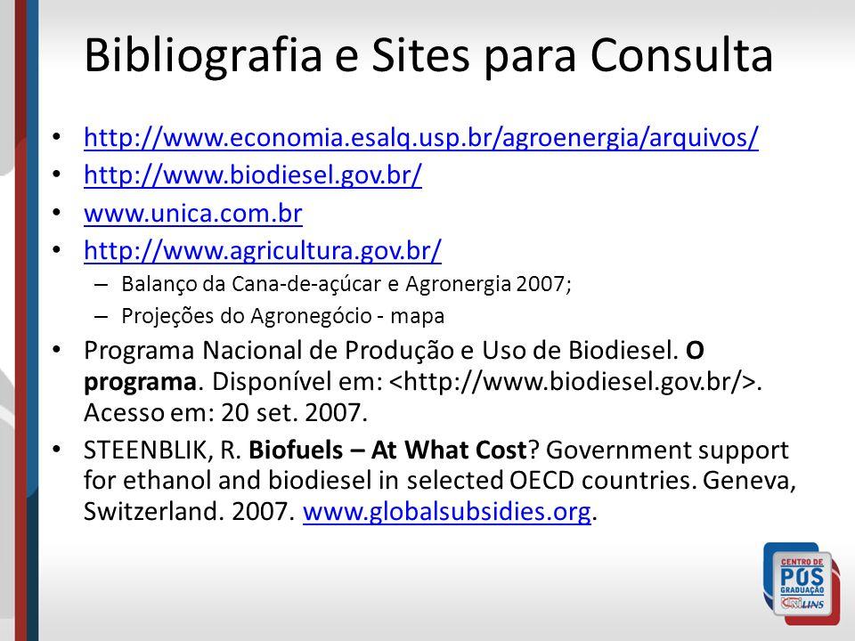 Bibliografia e Sites para Consulta http://www.economia.esalq.usp.br/agroenergia/arquivos/ http://www.biodiesel.gov.br/ www.unica.com.br http://www.agr