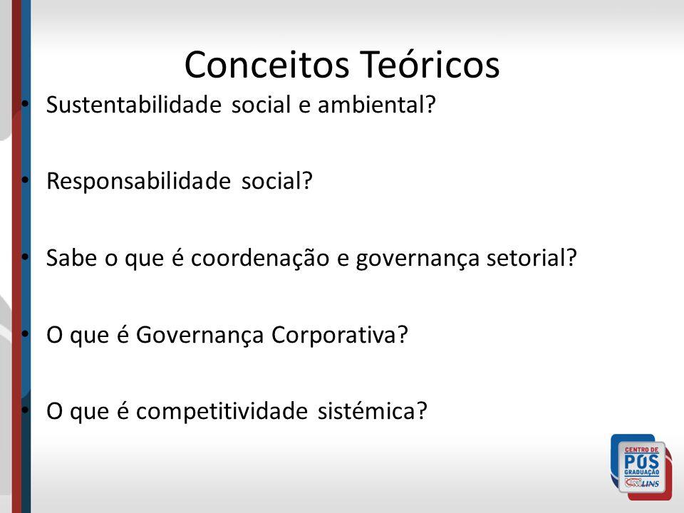 Conceitos Teóricos Sustentabilidade social e ambiental? Responsabilidade social? Sabe o que é coordenação e governança setorial? O que é Governança Co