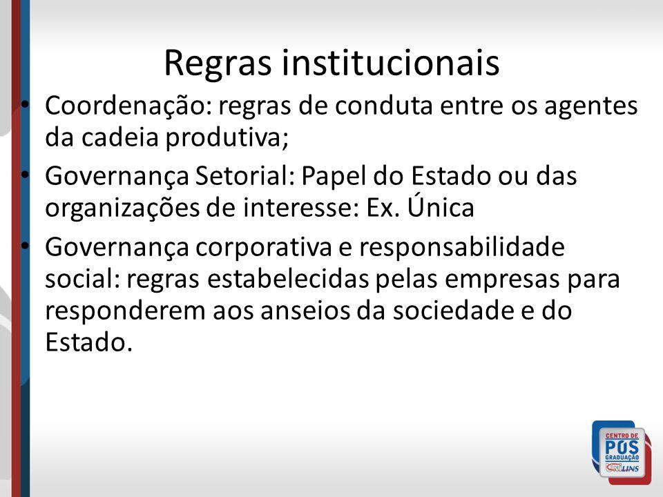 Regras institucionais Coordenação: regras de conduta entre os agentes da cadeia produtiva; Governança Setorial: Papel do Estado ou das organizações de
