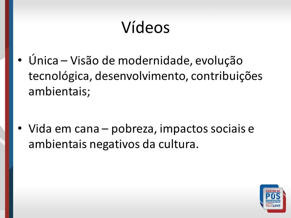 Vídeos Única – Visão de modernidade, evolução tecnológica, desenvolvimento, contribuições ambientais; Vida em cana – pobreza, impactos sociais e ambie