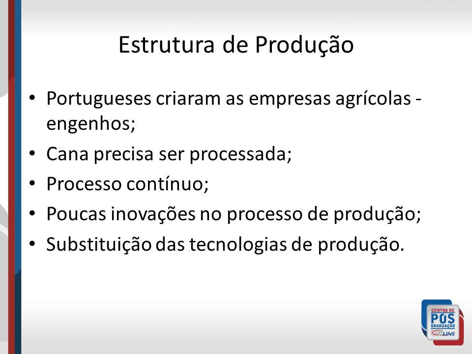 Estrutura de Produção Portugueses criaram as empresas agrícolas - engenhos; Cana precisa ser processada; Processo contínuo; Poucas inovações no proces